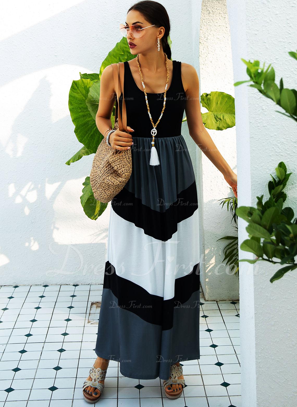 Color Block Kjole med A-linje Ærmeløs Maxi Casual skater Mode kjoler