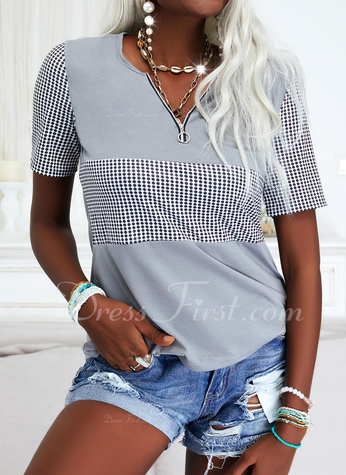 PolkaDot Print V-Neck Short Sleeves Casual Blouses
