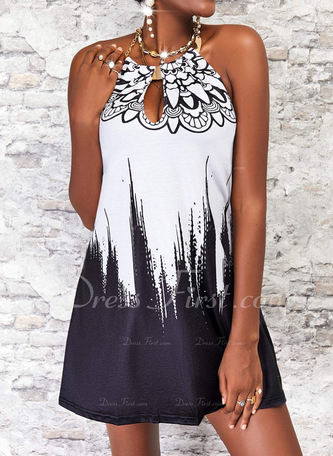 Impresión Degradada Vestidos sueltos Sin mangas Mini Casual Vestidos de moda