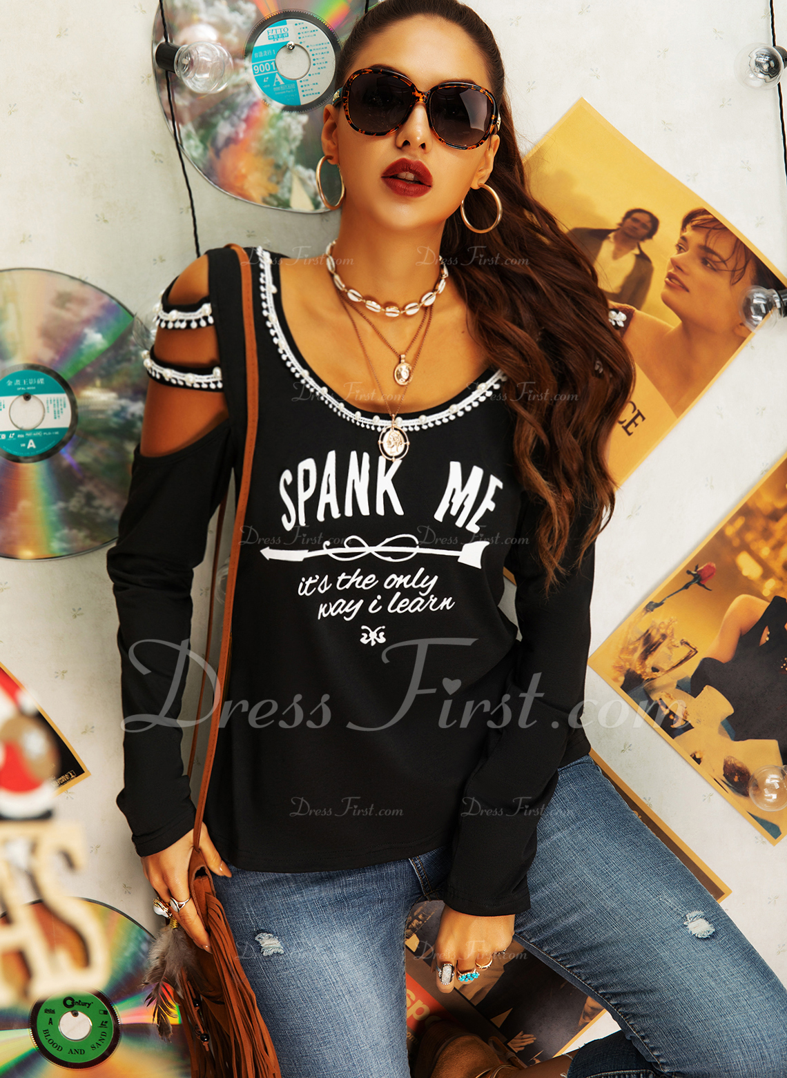 Beaded Figure Print Cold Shoulder Long Sleeves Casual Sexy Blouses