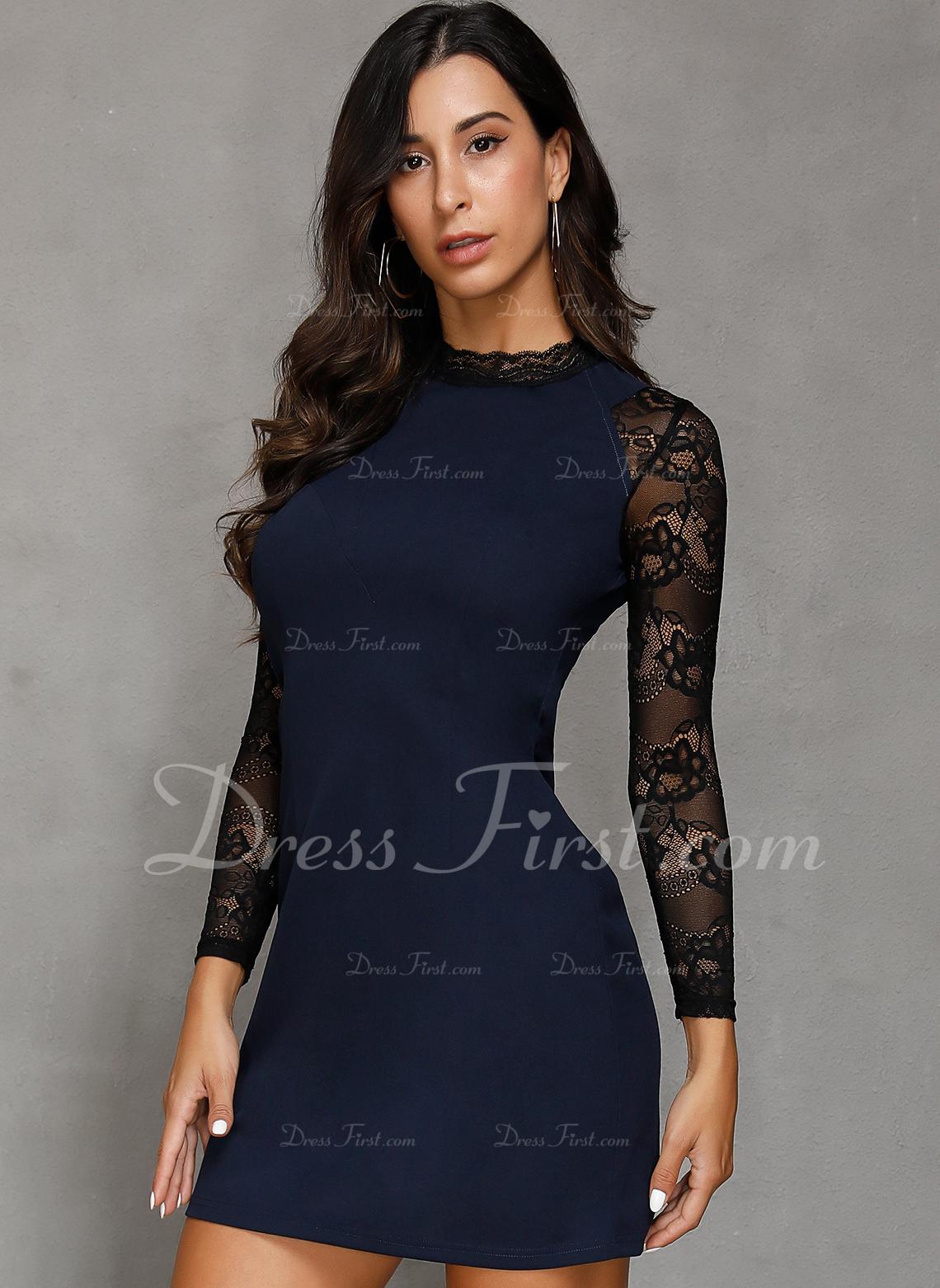 レース 固体 シースドレス 長袖 ミニ カジュアル ファッションドレス