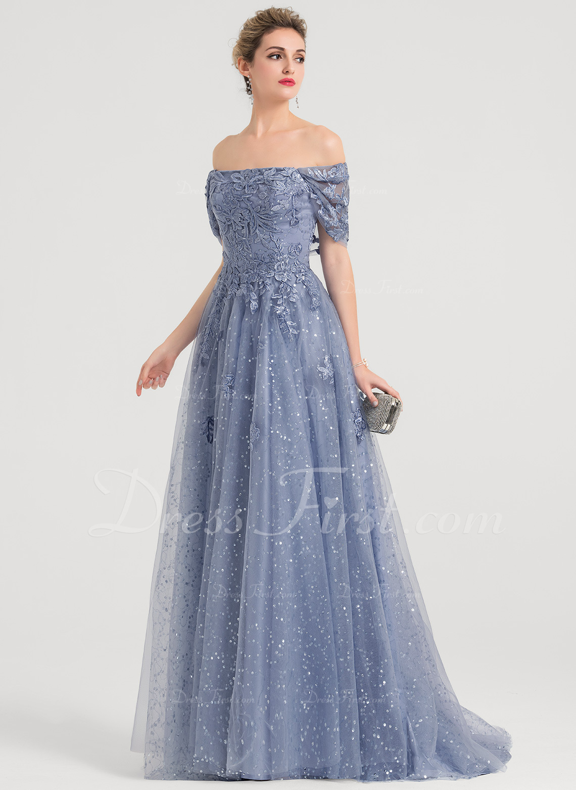 2a1ac4dba93c A-Line/Princess Off-the-Shoulder Sweep Train Tulle Prom Dresses With  Sequins #157176