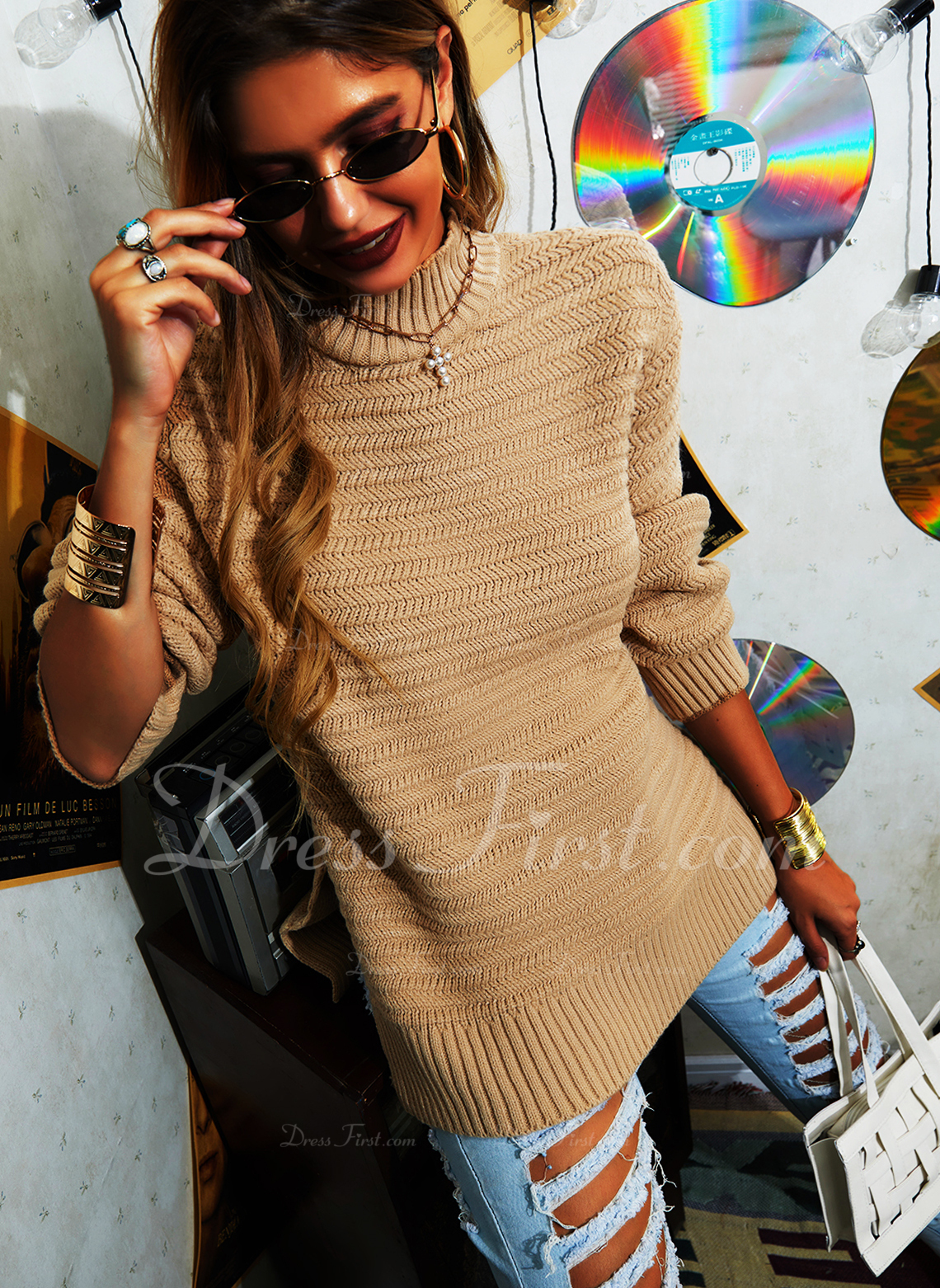 Stand collar Casual Solid Sweaters