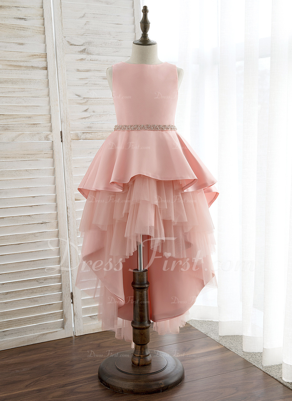 6dfa5a65d2 Ball-Gown Princess Asymmetrical Flower Girl Dress - Satin Tulle Sleeveless  Scoop Neck With Rhinestone  172353