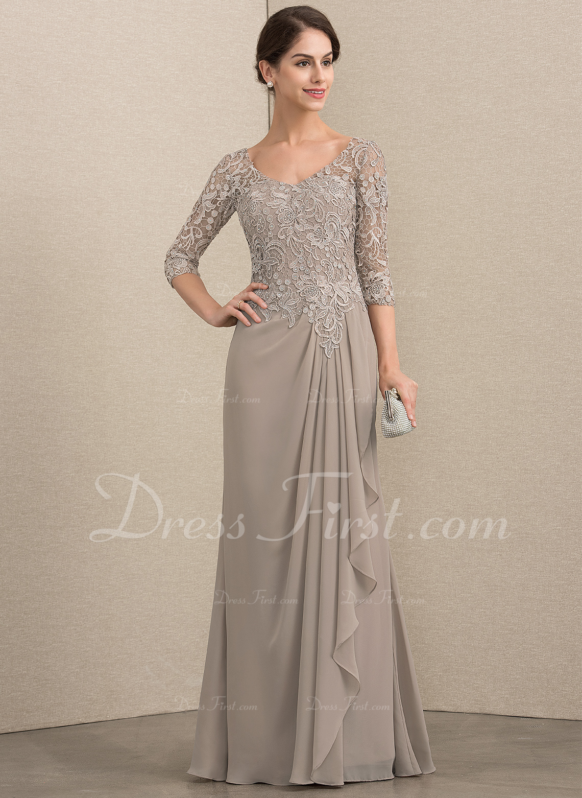 1052ad7f597 A-Line V-neck Floor-Length Chiffon Lace Mother of the Bride Dress With  Beading  164097