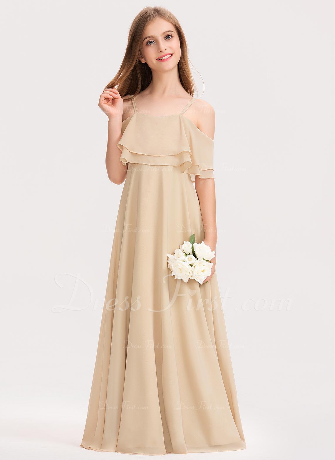 A-Line Off-the-Shoulder Floor-Length Chiffon Junior Bridesmaid Dress With Cascading Ruffles