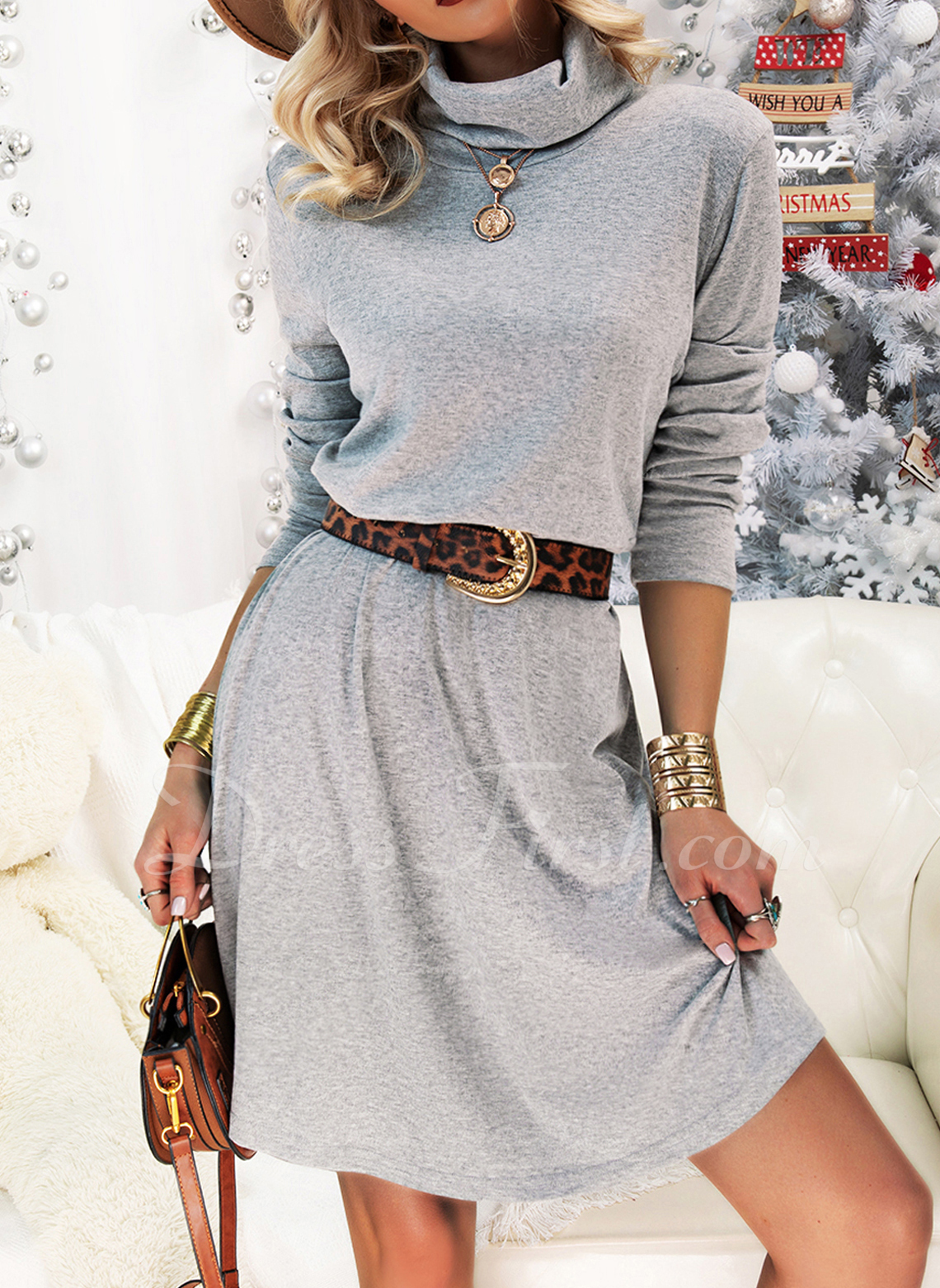 Solid A-line Long Sleeves Mini Casual Skater Dresses