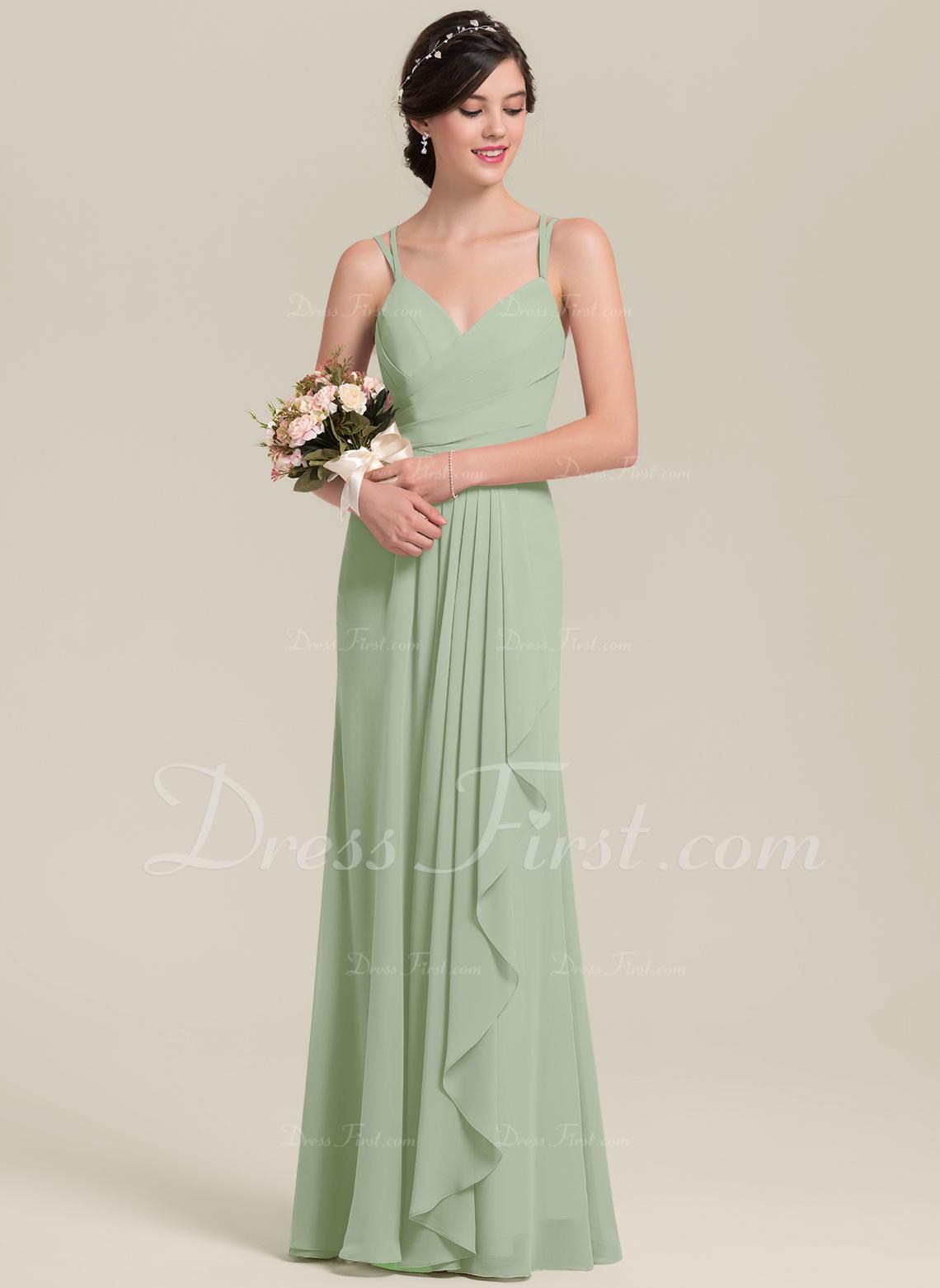 A-Line Sweetheart Floor-Length Chiffon Bridesmaid Dress With Cascading Ruffles