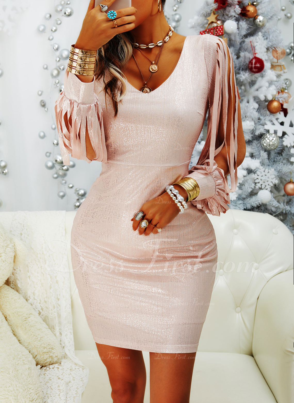 スパンコール 固体 ボディコンドレス 長袖 ミニ パーティー ファッションドレス