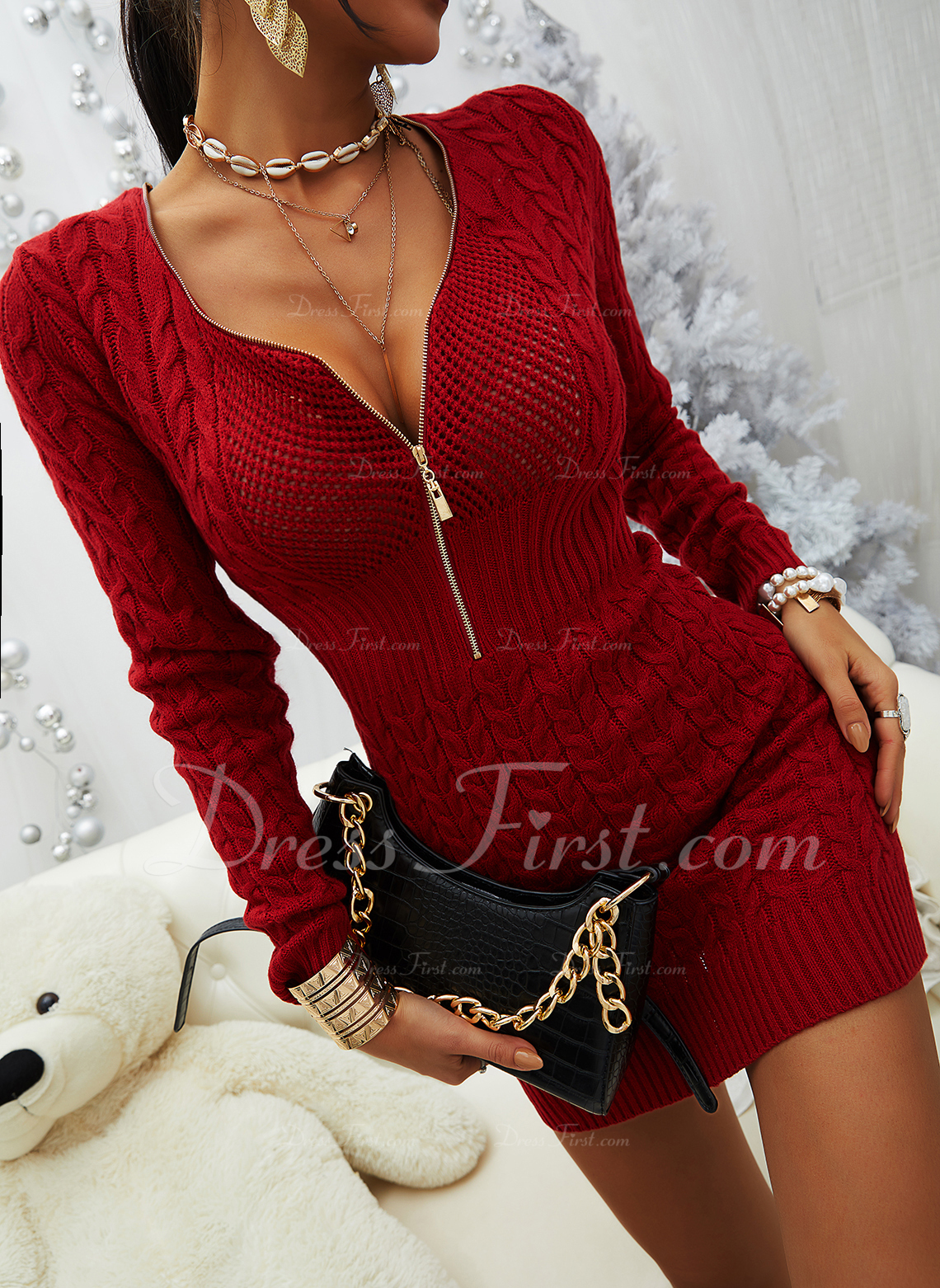 V-Ausschnitt Lässige Kleidung Lange Eng Einfarbig Pullover