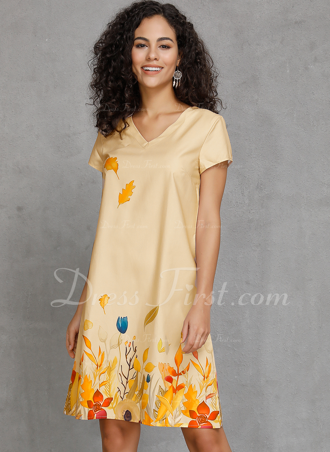 Kolano Długość Litera V Bawełna Wydrukować Krótkie Rękawy Modne Suknie