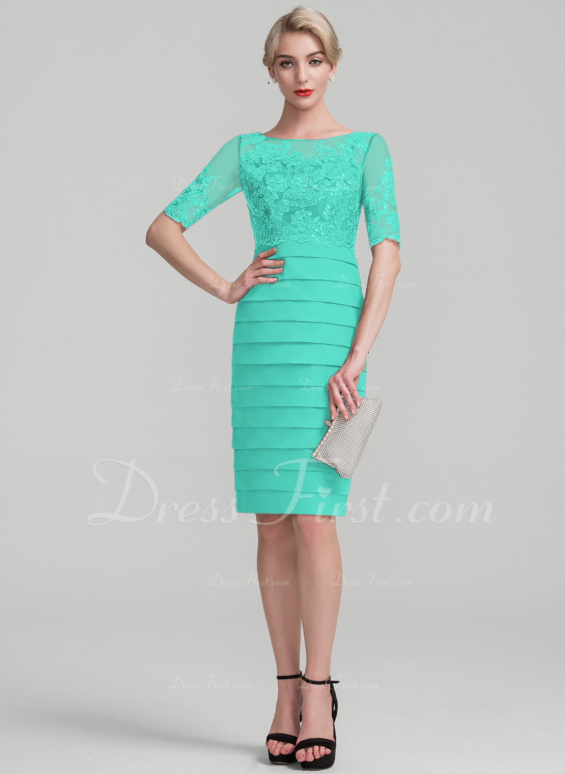 3c504bf57e223 Sheath/Column Scoop Neck Knee-Length Chiffon Sequined Mother of the ...
