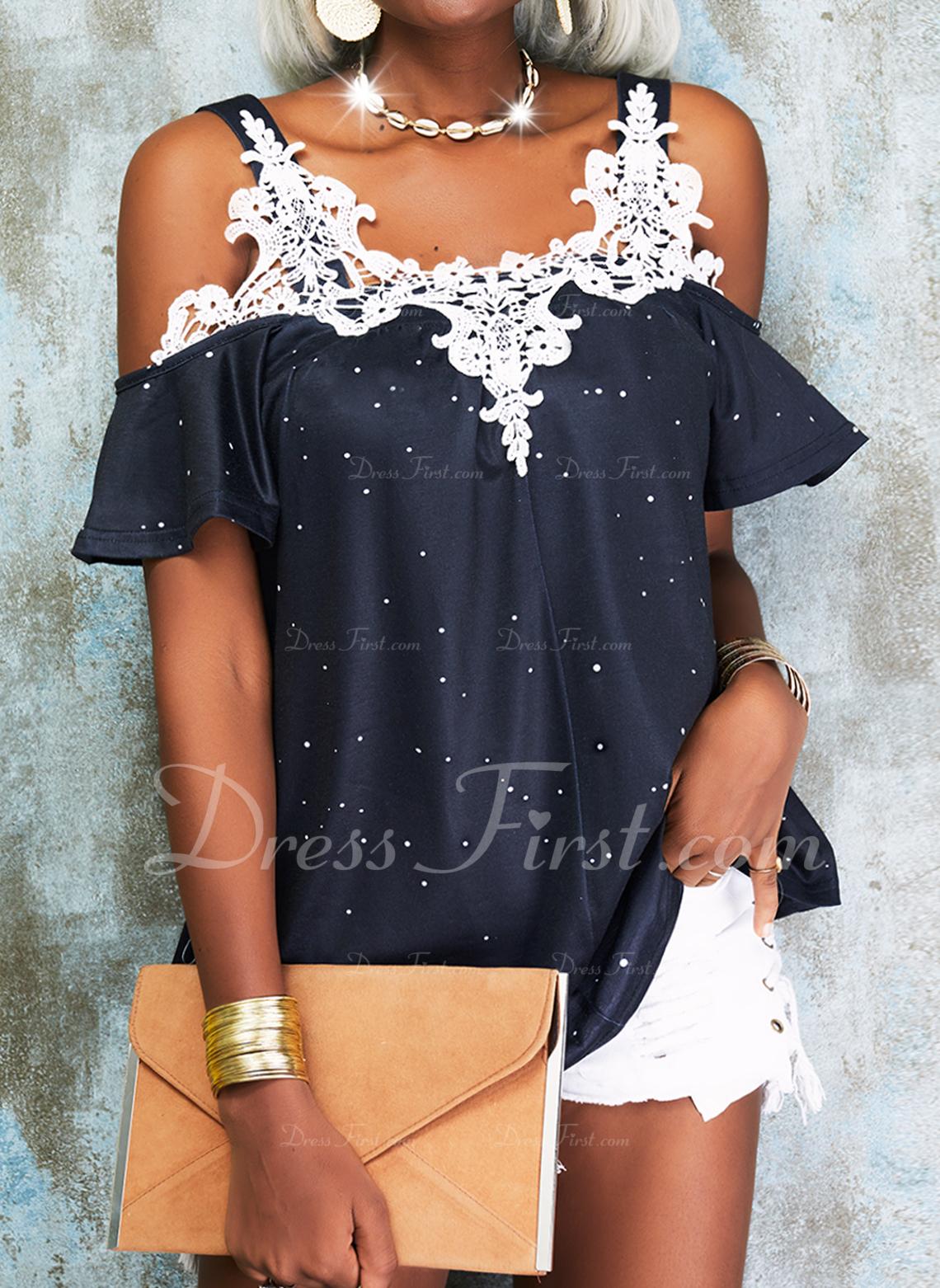 Lace Print Cold Shoulder 1/2 Sleeves Elegant Blouses