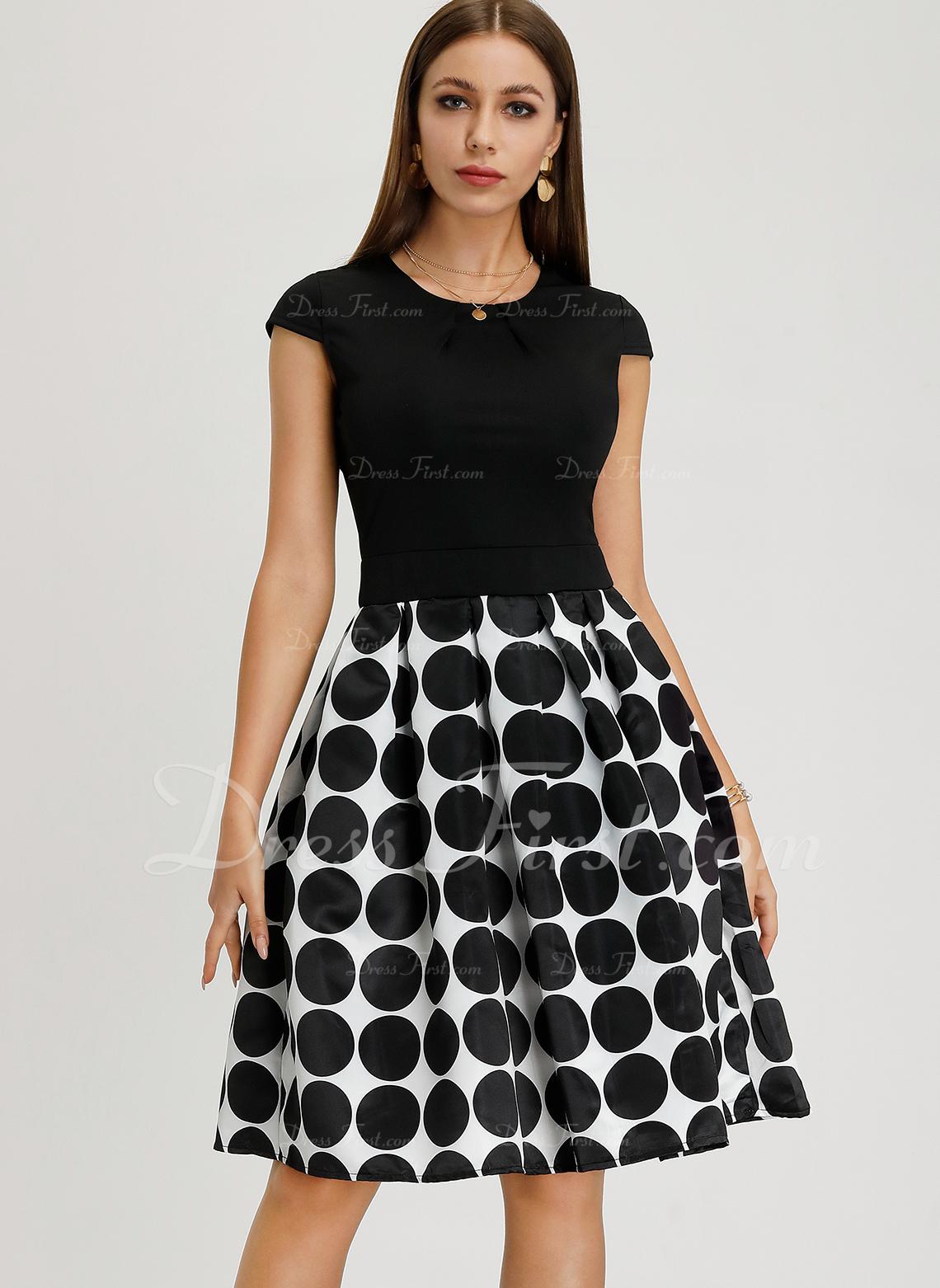 Geometrisk Polkaprik Kjole med A-linje Midi Vintage Elegant Mode kjoler