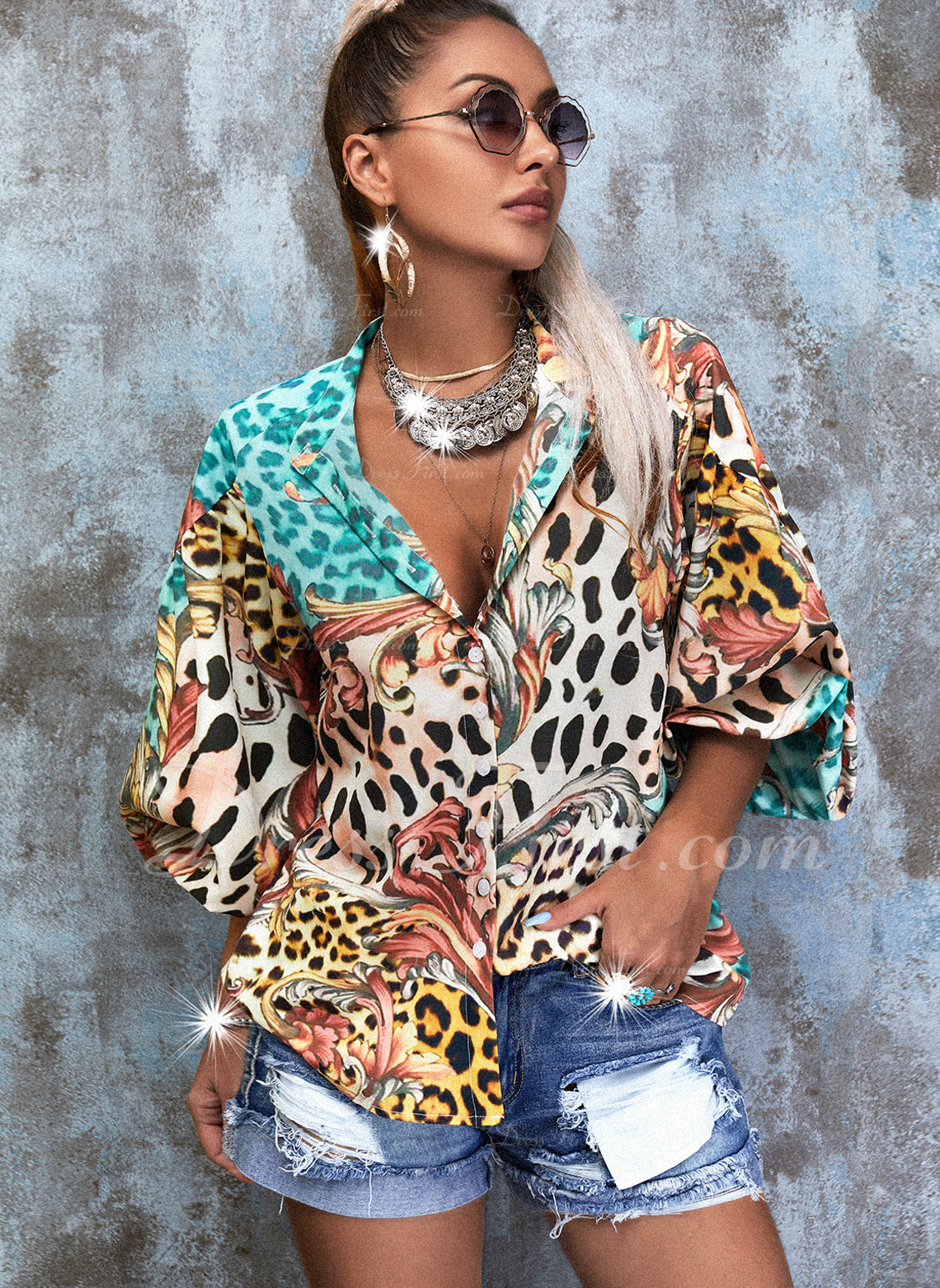 Leopard Print V-Neck 3/4 Sleeves Button Up Casual Shirt Blouses