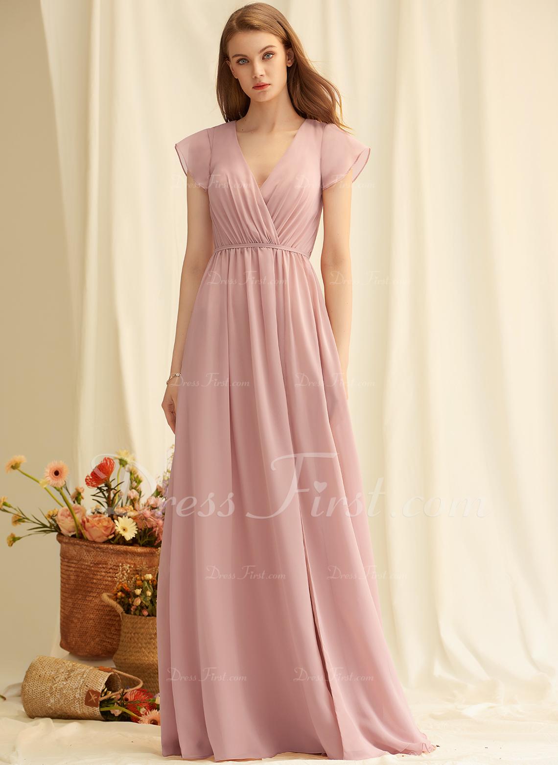 V-Neck Dusty Rose Chiffon Dresses