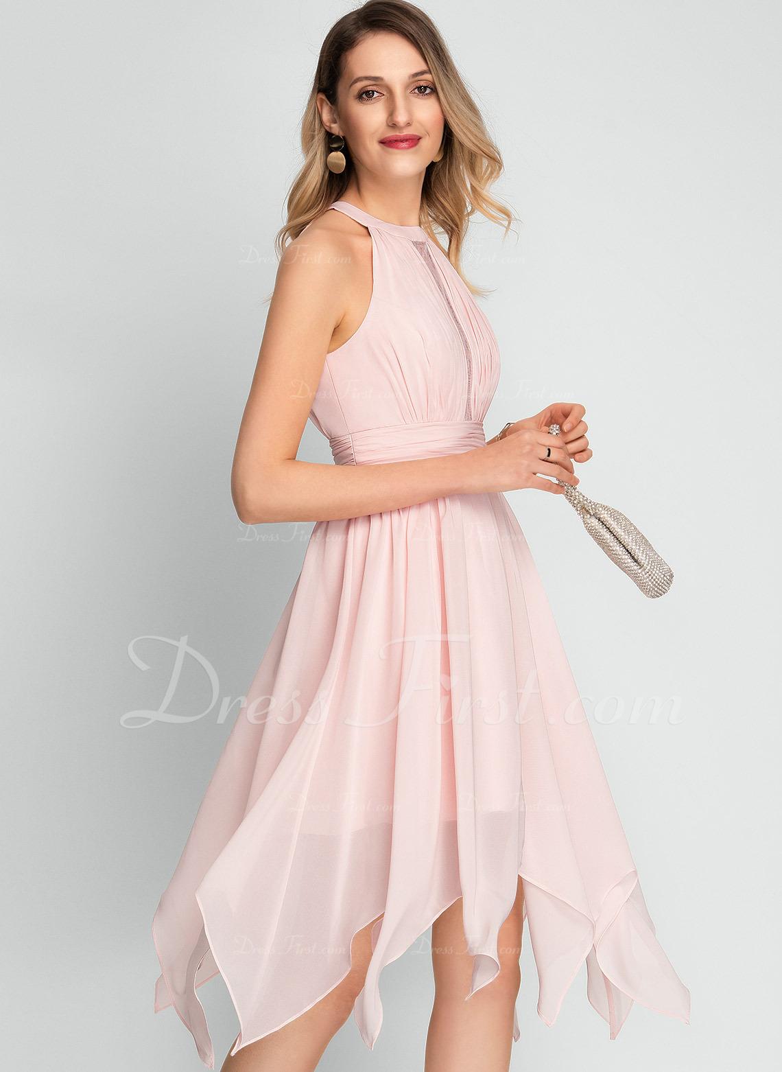 A-Line Scoop Neck Asymmetrical Chiffon Cocktail Dress