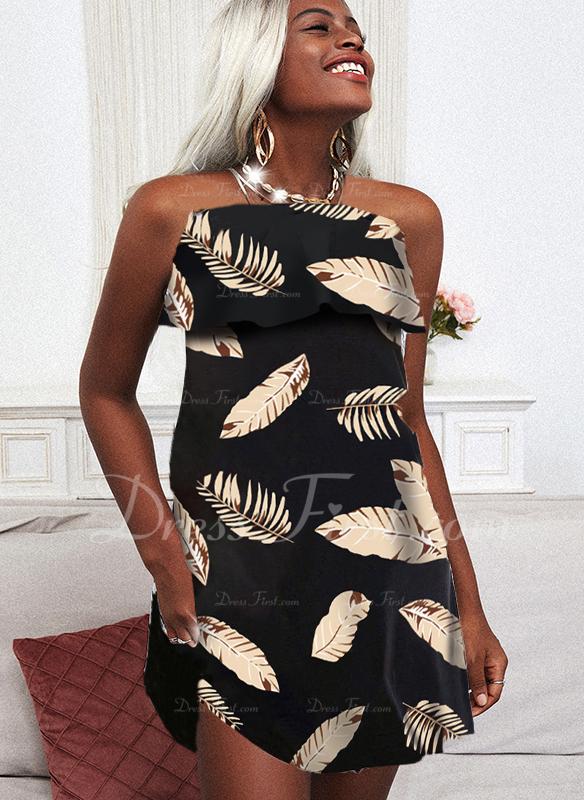Impresión Vestido línea A Sin mangas Midi Casual Vacaciones Patinador Vestidos de moda