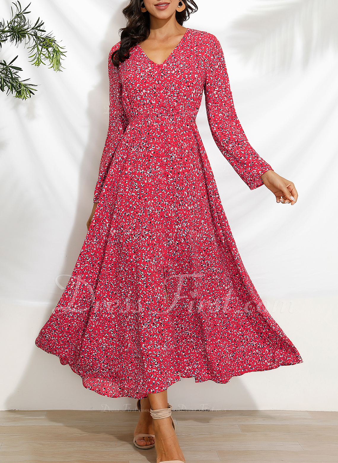 Print A-line 1/2 Sleeves Maxi Casual Vacation Skater Dresses