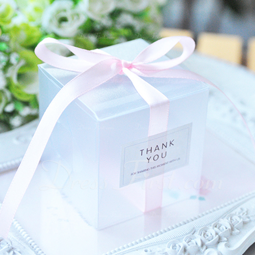 Classic Cubic Card Paper Favor Boxes & Containers With Ribbons (Set of 20)