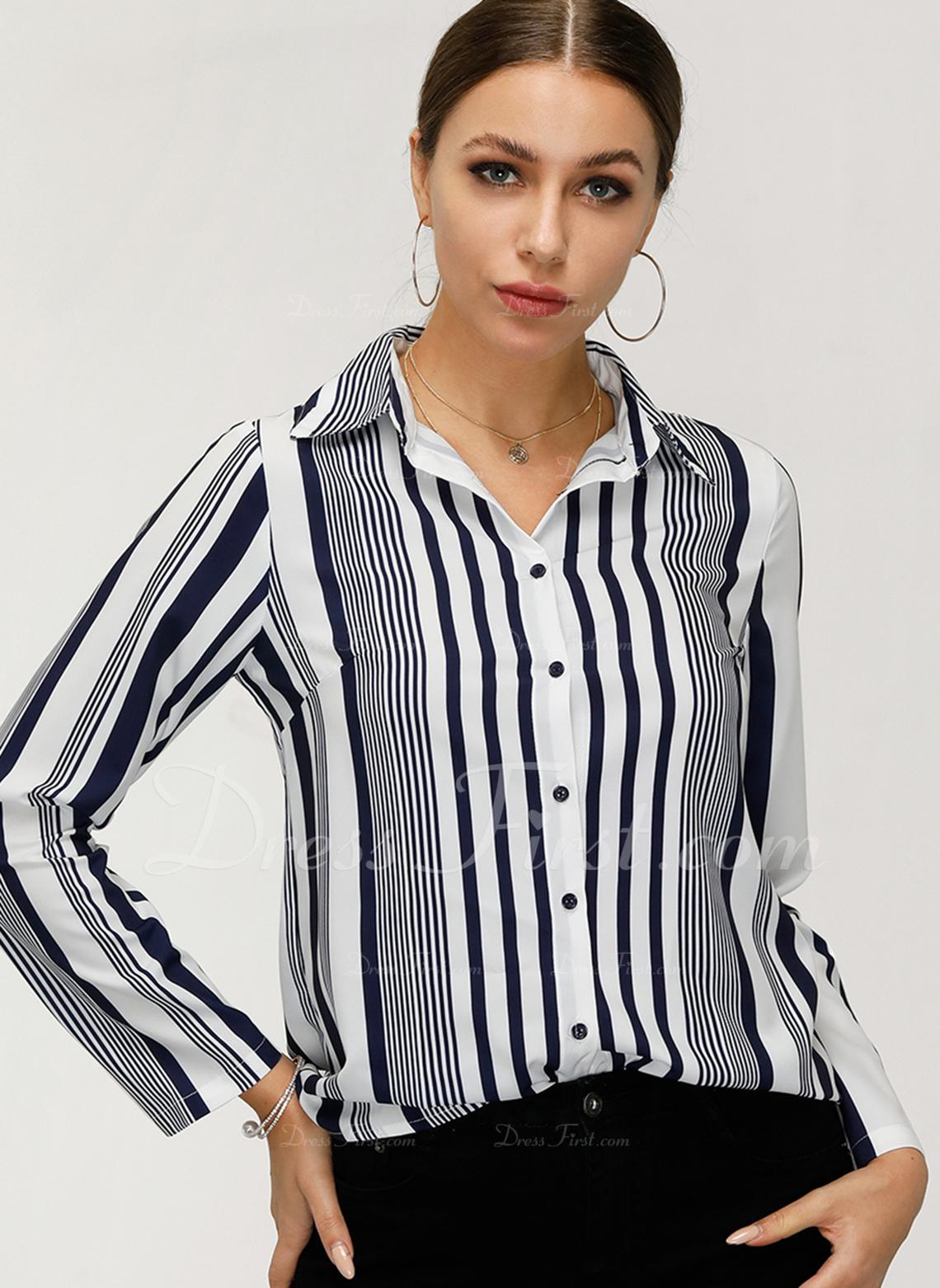 Prążek Długie rękawy Poliester Lapel Koszula Bluzki Bluzki
