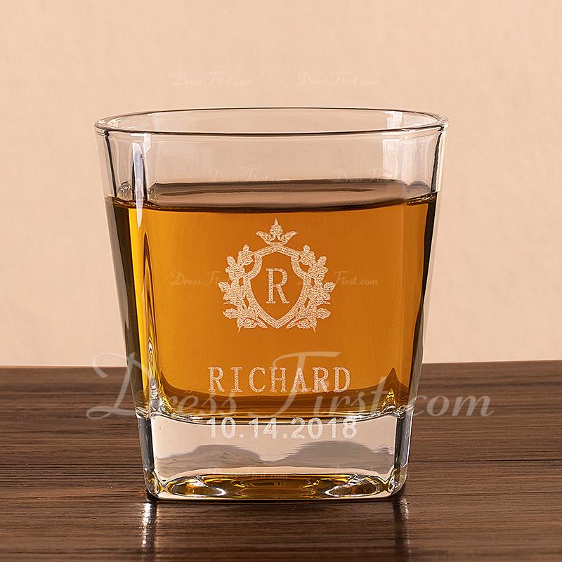 新郎ギフト - 個別の エレガント ガラス ウイスキーグラス