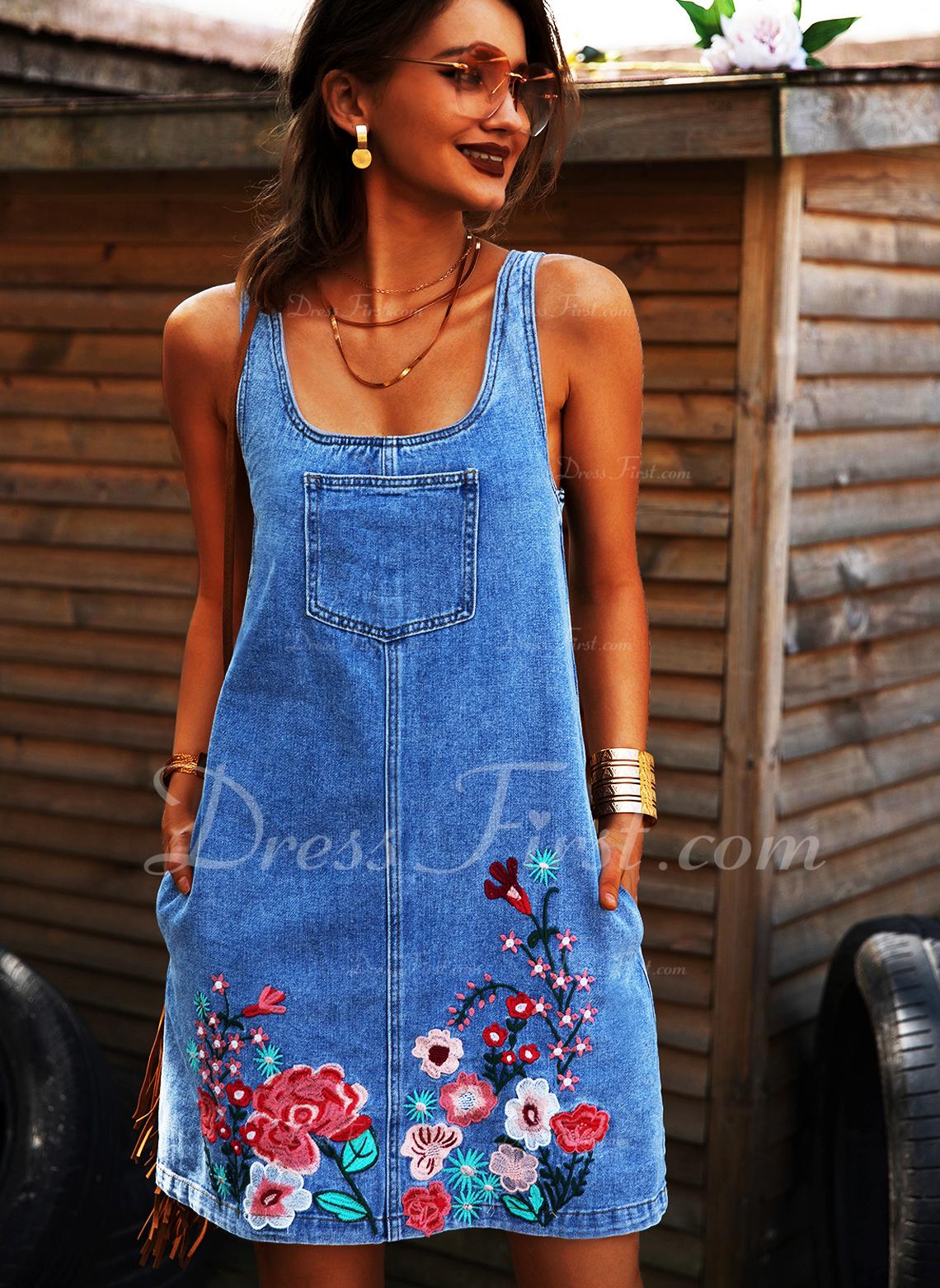 Blomster Print Skiftekjoler Ærmeløs Mini Jean Casual Tank Mode kjoler