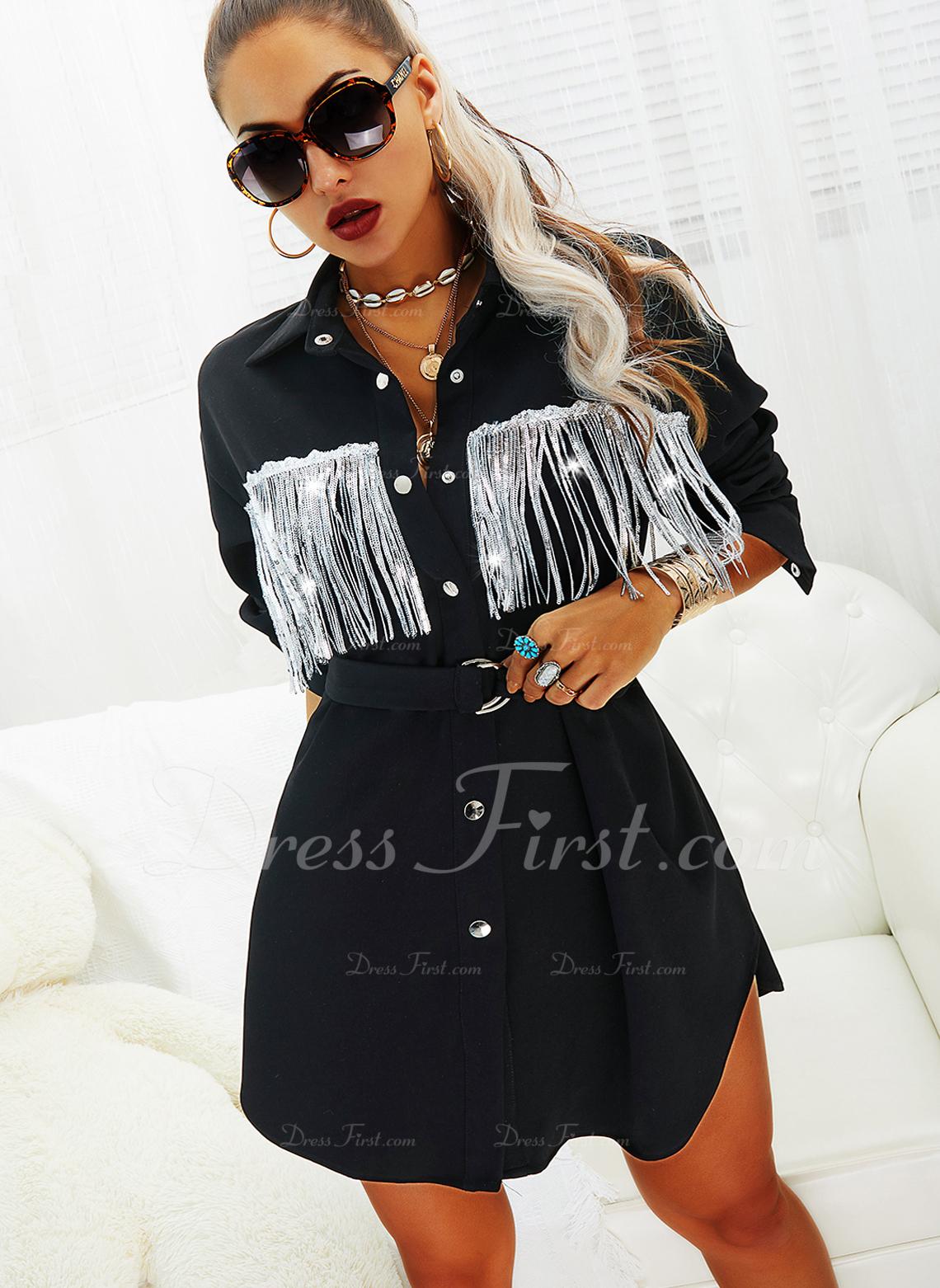 Solid Shiftklänningar Långa ärmar Mini Fritids Skjortklänningar Modeklänningar