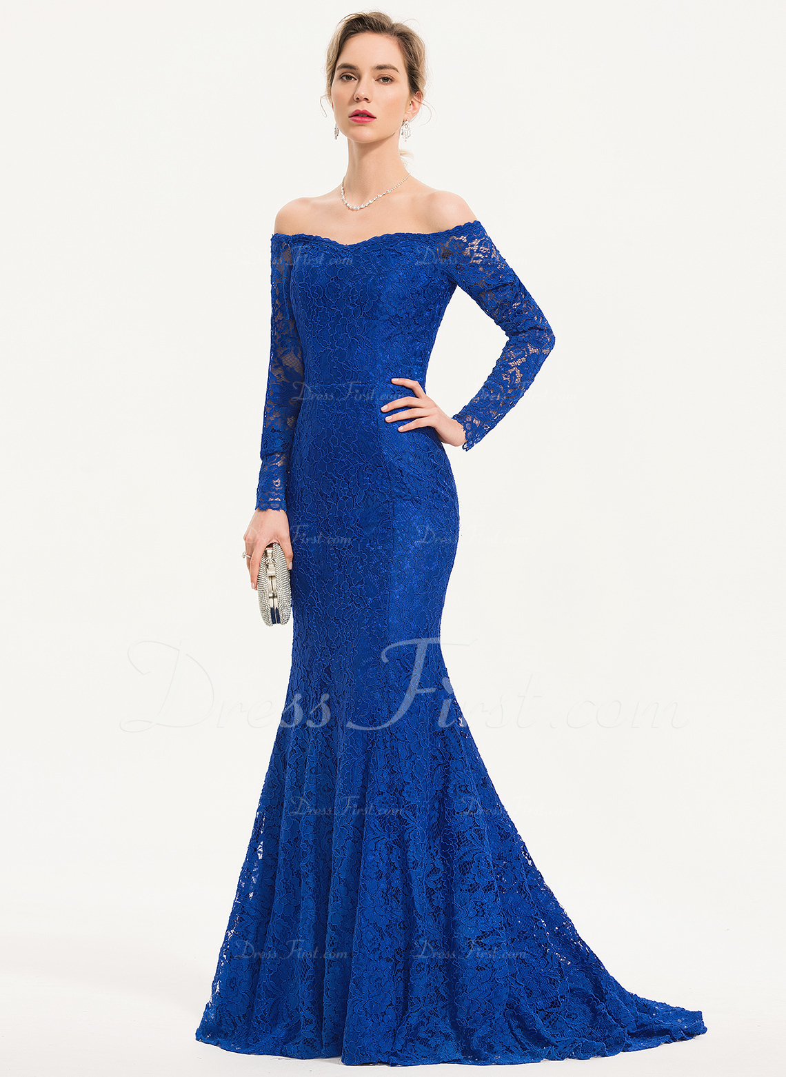 1ae992ea2f24 Evening Dresses; #186150. Loading zoom. Loading. Color: Royal Blue. Trumpet/Mermaid  Off-the-Shoulder Sweep Train Lace ...
