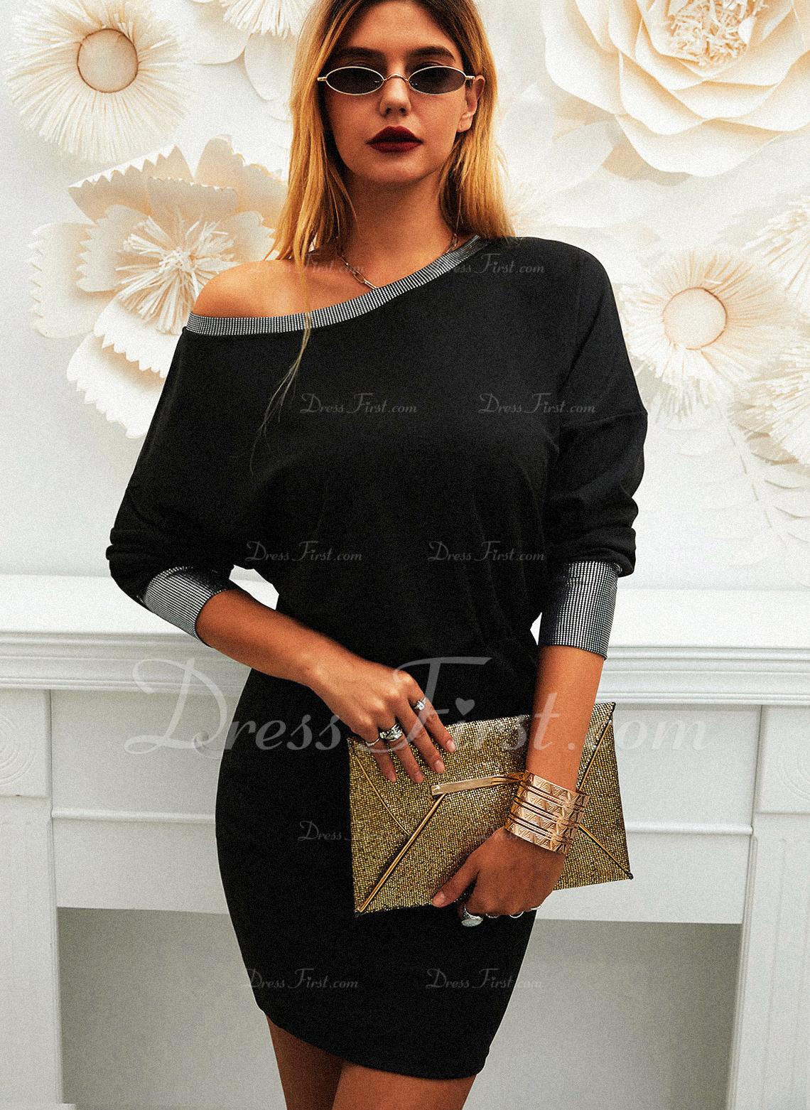 Solid Skede Lange ærmer Mini Casual Mode kjoler