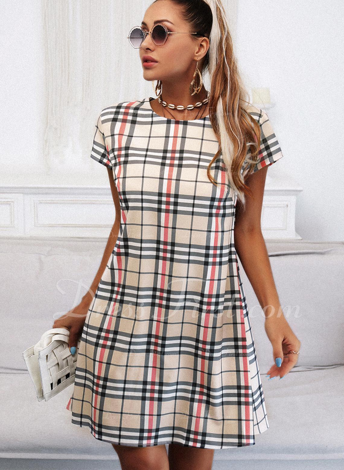 Xadrez Bainha Manga Curta Midi Casual Vestidos na Moda