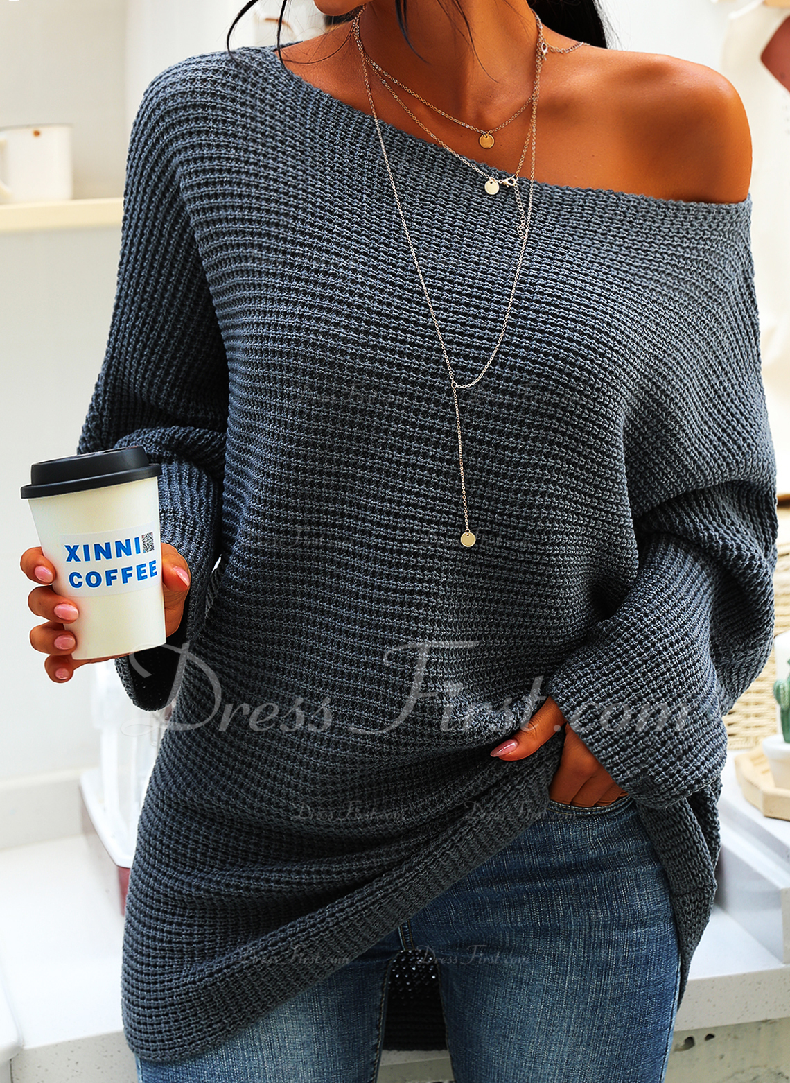 One Shoulder Casual Solid Sweaters
