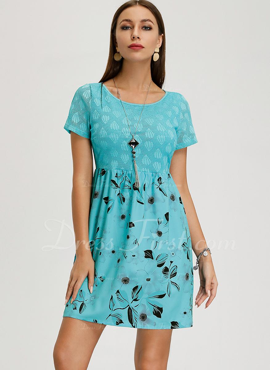 Nad kolanem Okrągły Dekolt Poliester Krótkie Rękawy Nadruk/Kwiatowy Modne Suknie
