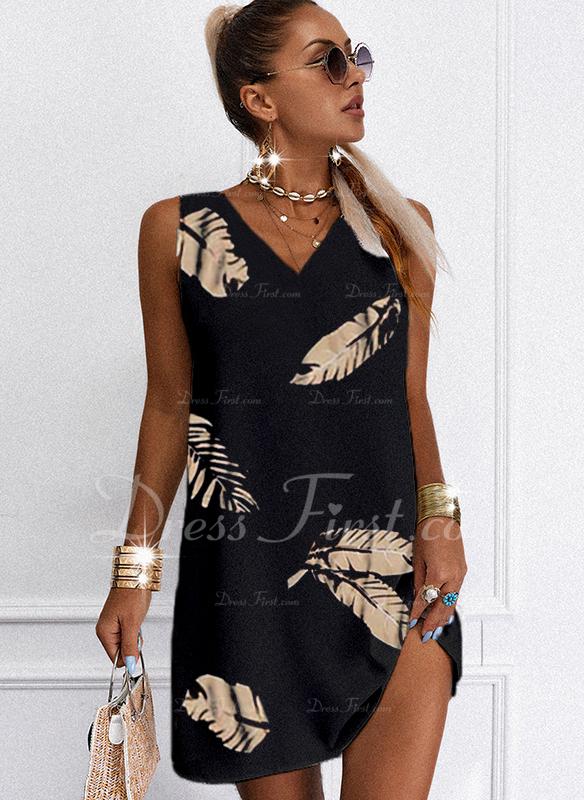 Impresión Vestidos sueltos Sin mangas Mini Casual Franelilla Vestidos de moda