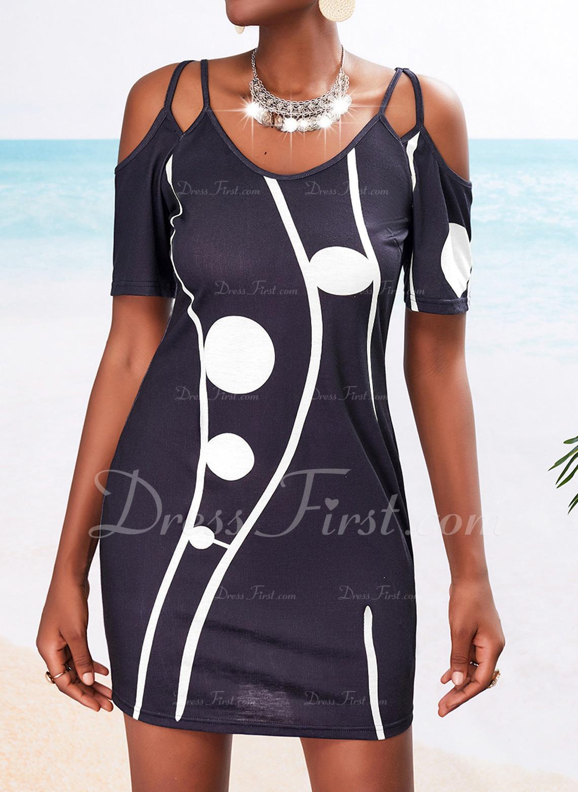 Print Sheath 1/2 Sleeves Mini Casual Dresses