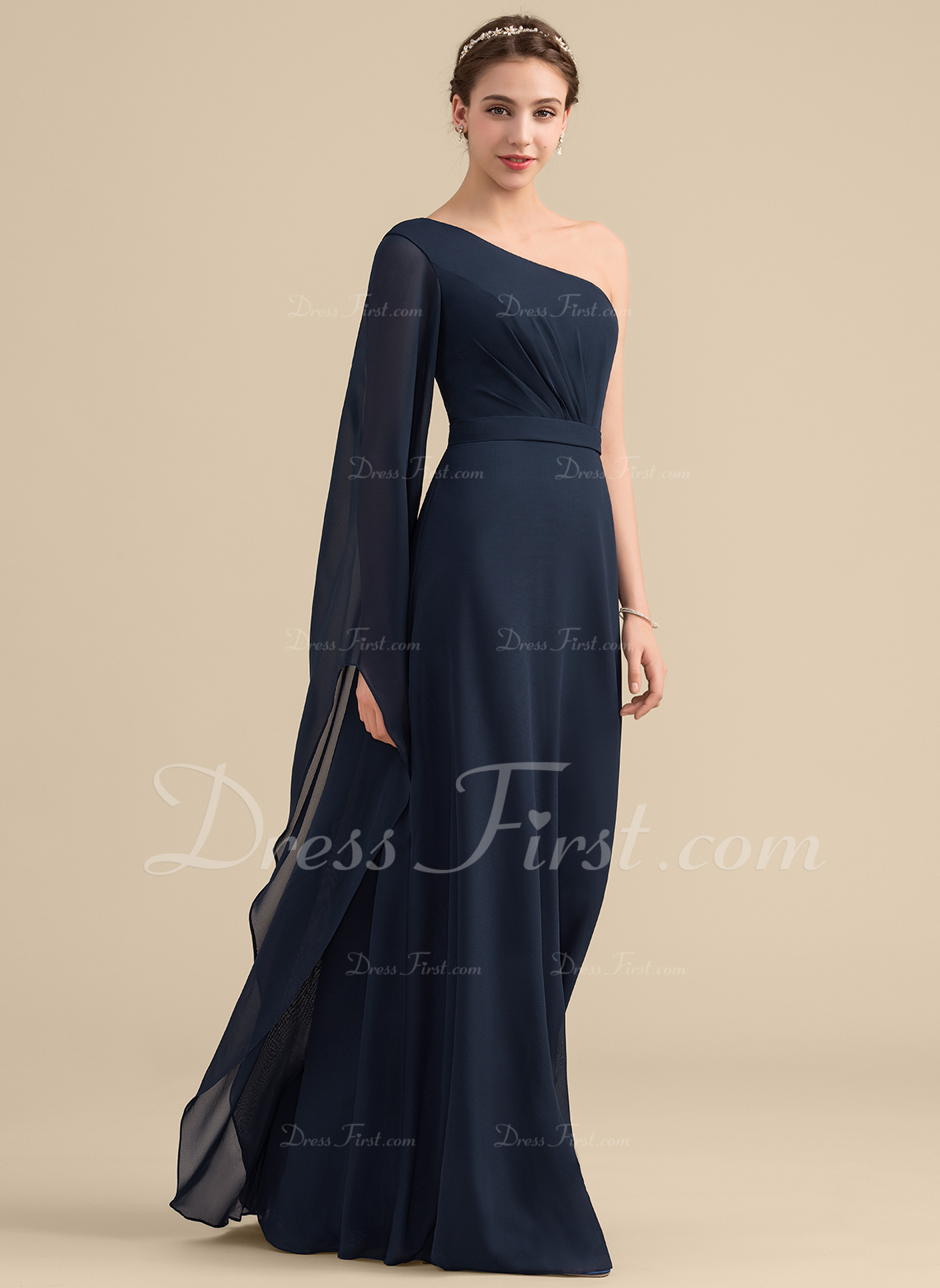 A-linjainen/Prinsessa Yksiolkaiminen Lattiaa hipova pituus Sifonki Morsiusneitojen mekko jossa Rypytys