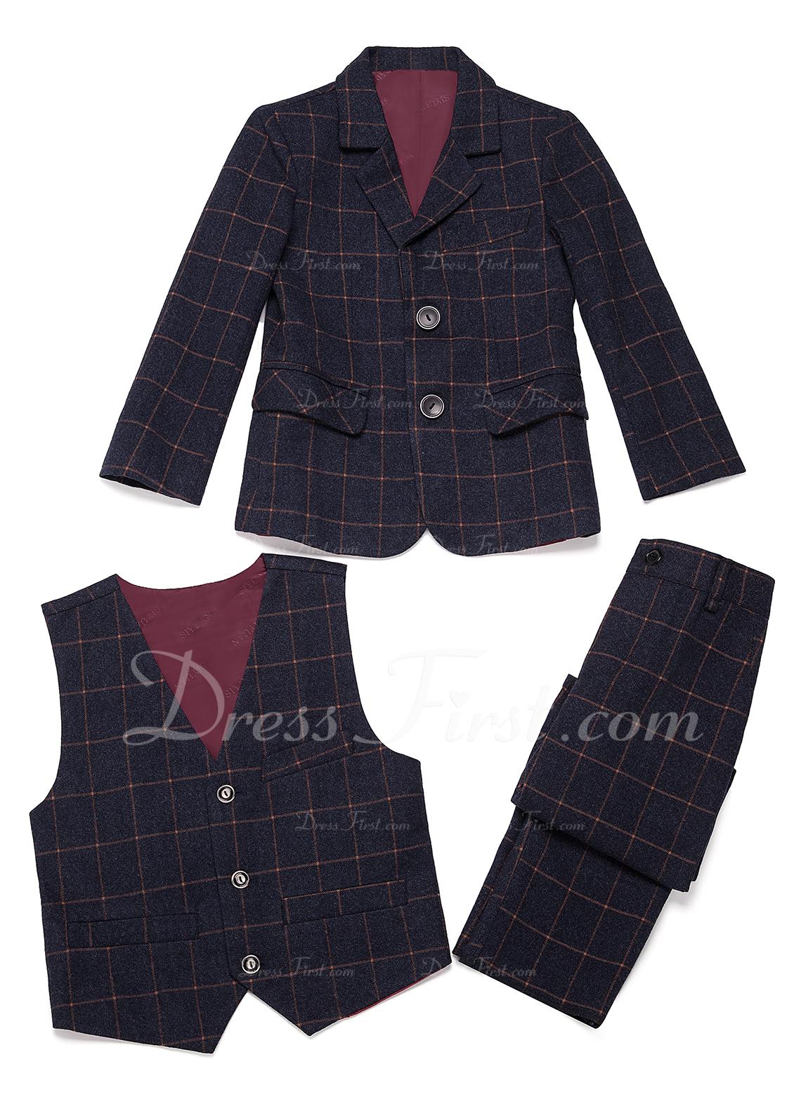 gutter 3 stykker Plaid Suits til ringbærere /Side Boy Suits med Jakke vest Bukser