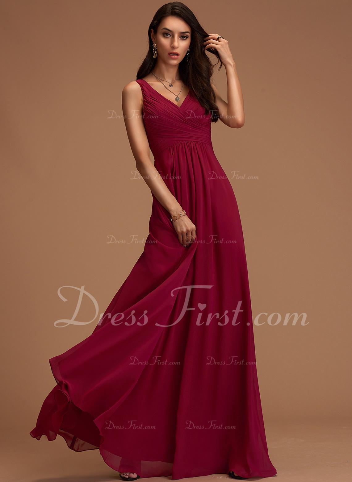Kjole med A-linje V-hals Ærmeløs Maxi Romantisk Sexet Mode kjoler