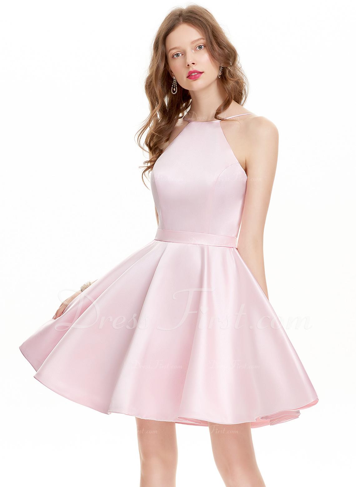 A-Line Scoop Neck Short/Mini Satin Homecoming Dress