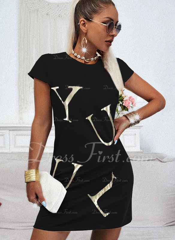 Print Letter Shift Short Sleeves Mini Casual T-shirt Dresses