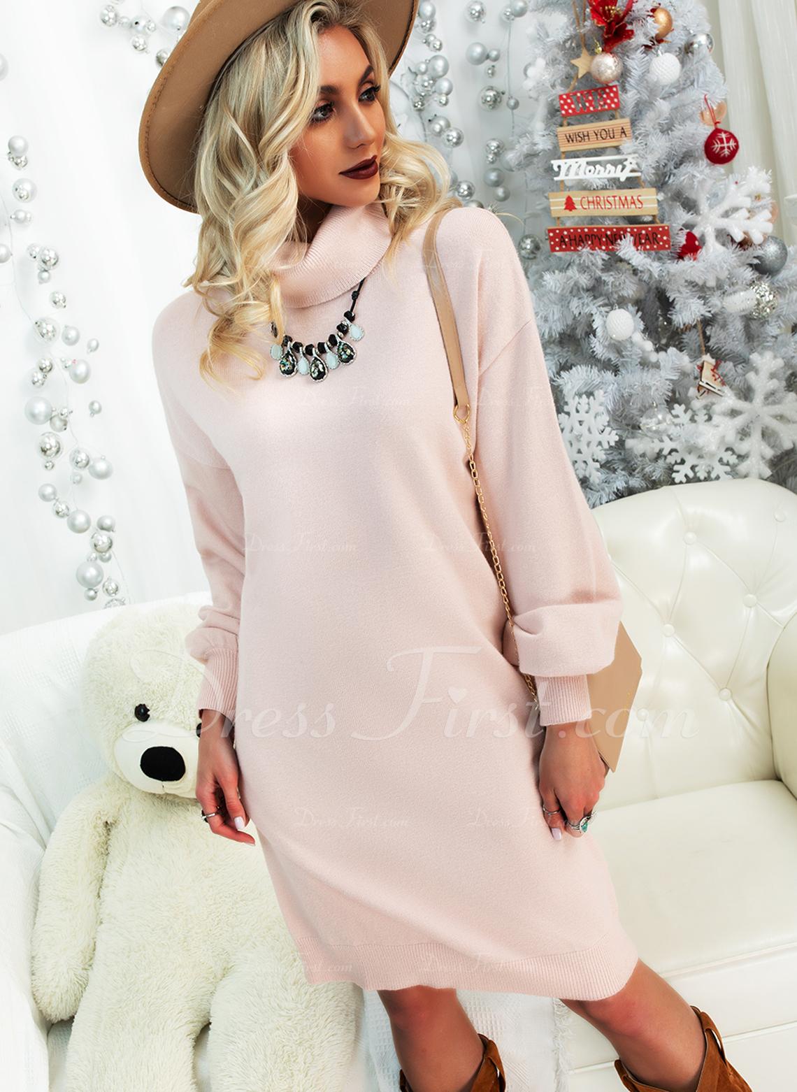Solid Lange ærmer Casual Mode kjoler