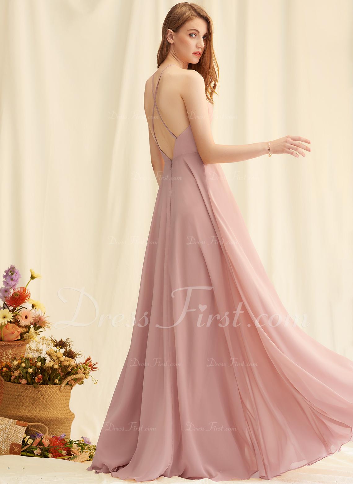 Scoop Neck Square Neckline Burgundy Floor-Length Chiffon Dresses