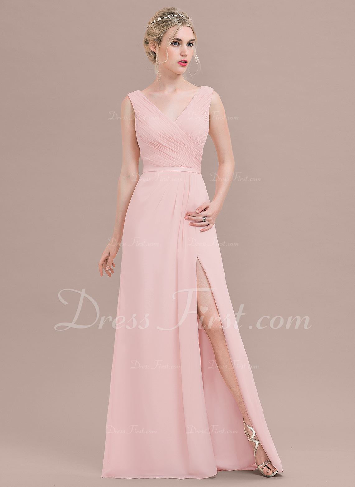 A-Line/Princess V-neck Floor-Length Chiffon Evening Dress With Ruffle Split Front