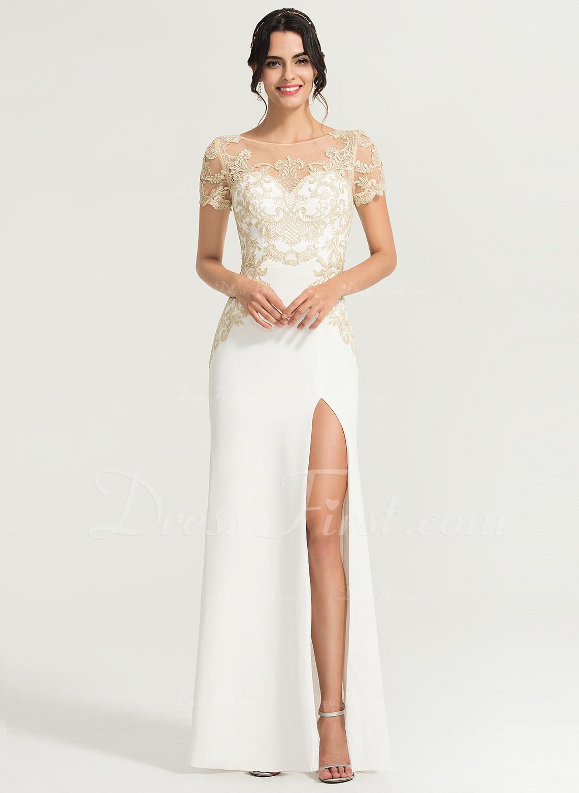Sheath/Column Scoop Neck Floor-Length Stretch Crepe Evening Dress With Split Front