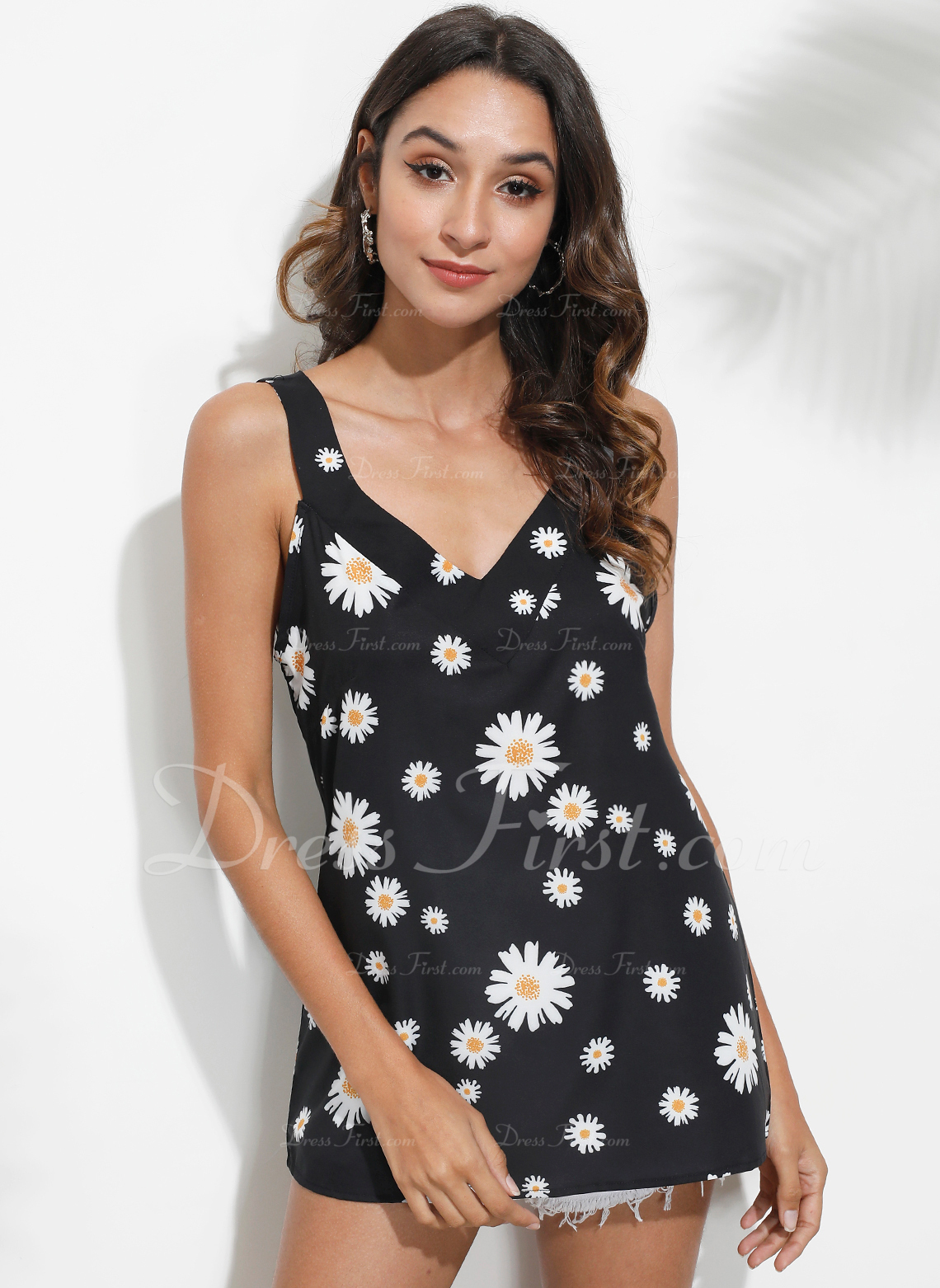 Drucken Blumen Ärmellos Polyester V-Ausschnitt Tank Tops Blusen