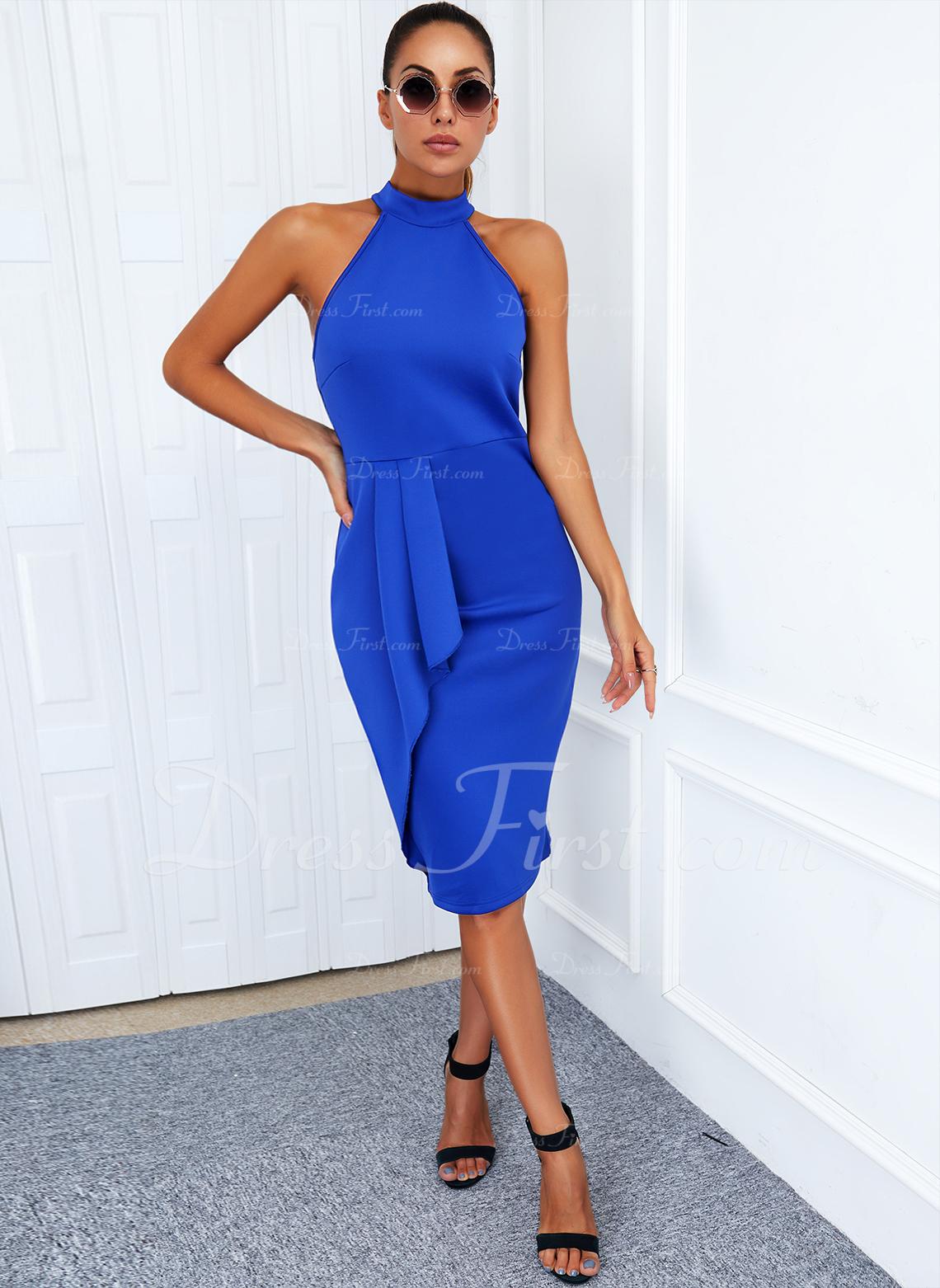 Sólido Cubierta Sin mangas Midi Elegante Vestidos de moda