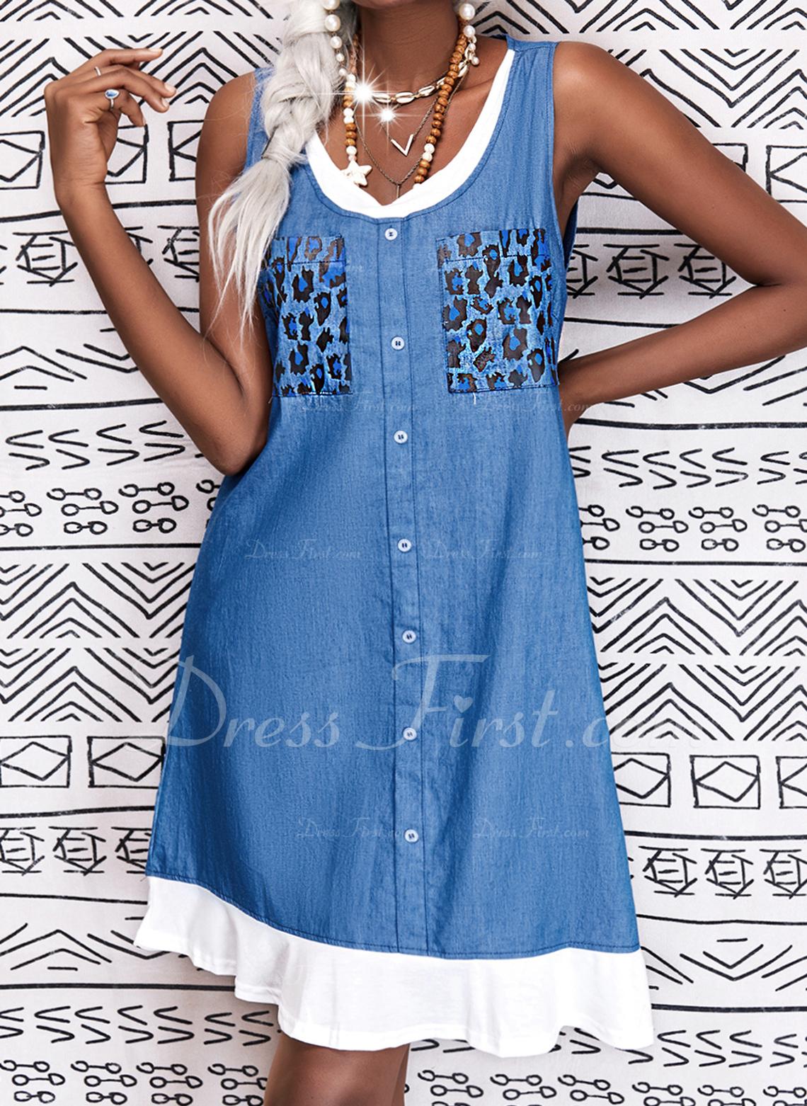 Leopard Print Shift Sleeveless Midi Casual Dresses