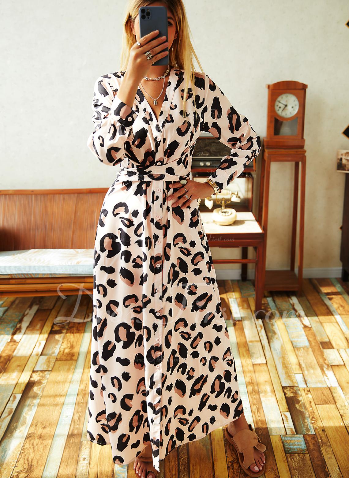 Leopard Do tvaru A Dlouhé rukávy Maxi Elegantní Skaterové Módní šaty