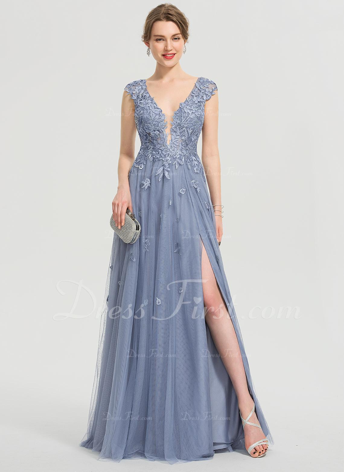 A-Line V-neck Floor-Length Tulle Evening Dress With Sequins Split Front