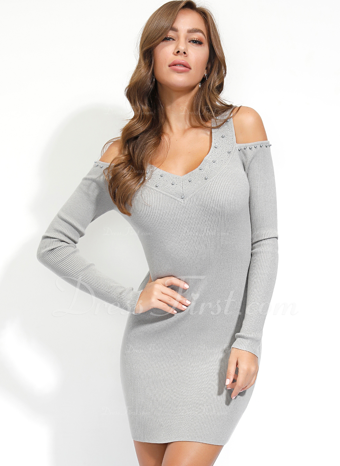固体 ボディコンドレス 長袖 ミニ カジュアル ファッションドレス